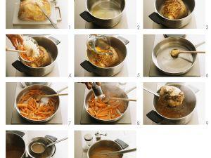 Schweinebraten mit Bratkartoffeln und Möhren Rezept