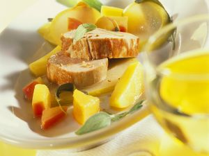 Schweinefilet auf Kartoffel und Quitten Rezept