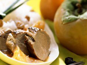 Schweinefilet mit Reis und Fruchtsauce Rezept