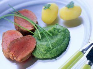 Schweinefilet mit Spinatpüree Rezept