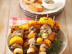 Schweinefleisch-Gemüsespieße Rezept