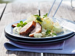 Schweinefleisch vom Grill mit Gemüse Rezept