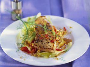 Schweineschnitzel auf Curry-Gemüse Rezept