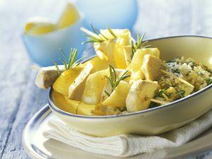 Schwertfisch-Zitronen-Spieße mit Kräuterreis Rezept