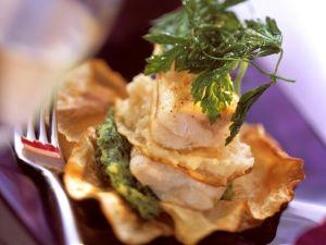 Seeteufel mit grünem und weißem Selleriepüree Rezept