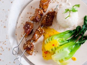 Seitan-Spieße mit Sesam und Pak Choy Rezept