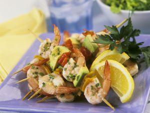 Shrimps-Avocado-Spieße Rezept