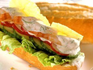 Shrimps-Gemüse-Baguette Rezept