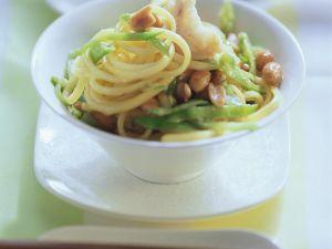 Spaghetti mit Fisch und Zuckerschoten Rezept