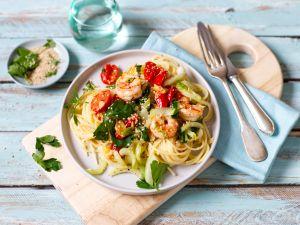 Spaghetti mit Garnelen und Pak Choi Rezept