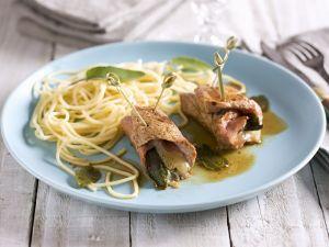 Spaghetti mit Kalbsröllchen Rezept