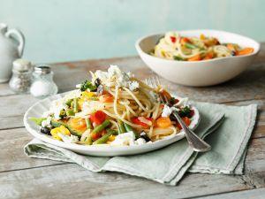 Spaghetti mit Sommergemüse und Feta Rezept