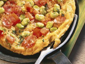 Spanisches Omelett mit dicken Bohnen und Wurst Rezept