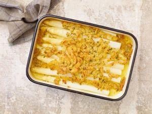 Spargel mit Käse und Speck gratiniert Rezept
