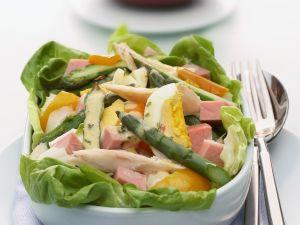Spargel-Schinken-Salat mit Ei und Senfvinaigrette Rezept
