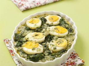 Spinat-Gratin mit Ei und Parmesan Rezept