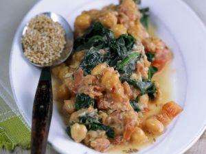Spinat mit Kichererbsen und Sesam Rezept