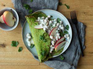 Spinat-Pfannkuchen mit Kichererbsen-Füllung Rezept