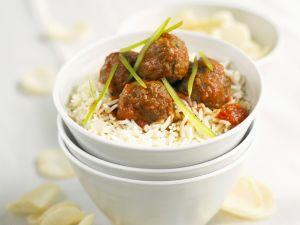 Süß-saure Fleischklößchen mit Reis Rezept