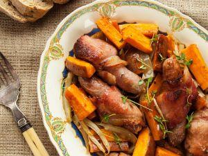 Süßkartoffeln mit Speck-Würstchen Rezept