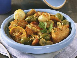 Tajine mit Hähnchen, Oliven, Artischocken und Zwiebeln Rezept