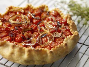 Tarte mit Zwiebeln und Tomate Rezept