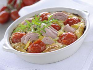 Thunfisch-Flan mit Kirschtomaten und Rucola Rezept