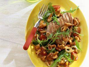 Thunfisch mit gebratene Pfifferlingen Rezept