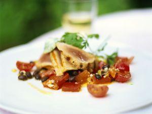 Thunfisch mit Tomaten-Bohnensalat Rezept