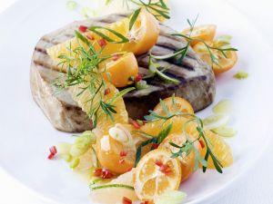 Thunfischsteak vom Grill mit Zitussalsa Rezept