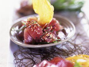 Thunfischwürfel mit Sesam Rezept