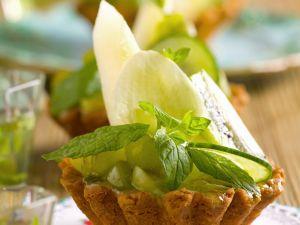 Törtchen mit Honigmelone und Minze Rezept