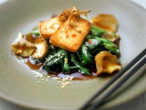 Tofu mit Shiitake und Spinat Rezept