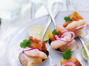 Tofu mit Shrimps und Zitrusgelee Rezept