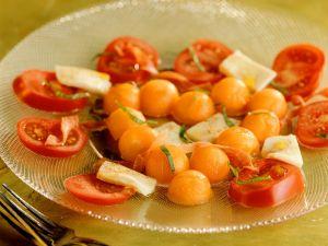 Tomate-Mozzarella mit Melone Rezept