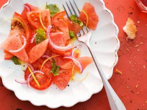 Tomaten-Melonensalat mit Grapefruit und Koriander Rezept