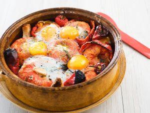 Tomaten-Paprika-Gratin mit Spiegelei Rezept