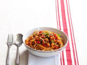 Tomaten-Spaghetti mit Kichererbsen Rezept