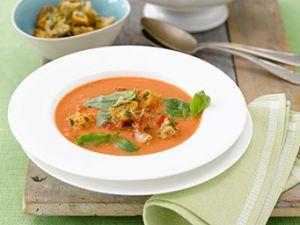 Tomatencremesuppe mit Panchetta