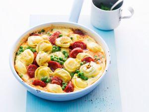 Tortellini-Tortilla mit Chorizo Rezept