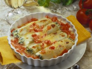 Überbackene Cannelloni mit Tomaten Rezept