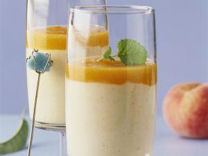 Vanillejoghurt mit Pfirsichmus Rezept