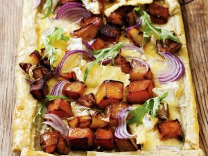Tarte mit Süßkartoffeln und Butternut-Kürbis Rezept