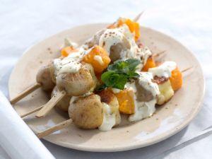 Vegetarische Spieße mit Halloumi Rezept