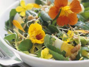 Wildkräutersalat mit Essblüten und Eiern Rezept