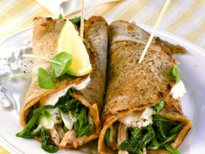 Wraps gefüllt mit Putenschinken und Spinat Rezept