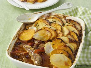 Wurst-Kartoffel-Gratin (Sausage Hotpot) Rezept