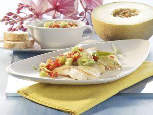 Zander mit Paprika-Melonen-Salsa Rezept