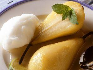 Zitronensorbet und Birnen Rezept