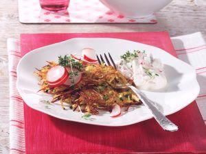 Zucchini-Kartoffelpuffer mit Radieschen-Quark Rezept